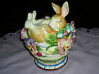 FITZ & FLOYD HALCYON BUNNY LIDDED BOX - COVERED JAR, RARE MINT! SHIPS PRIORITY!
