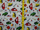 TOOLS TRACTORS BULLDOZERS ON BLUE 100%  COTTON FLANNEL FABRIC BY THE 1/2 YARD