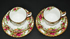 ROYAL ALBERT OLD COUNTRY ROSES TWO TRIO SETS TEACUPS, SAUCERS, DESSERT PLATES