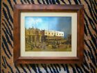 VINTAGE FOIL ART STREET SCENE PICTURE! MATTED IN WOOD AND GLASS FRAME. BEAUTIFUL