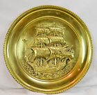 Vintage Brass Wall Hanging Plaque Platter Tray With Sail Boat Ship Embossed 16