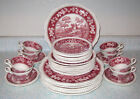 Spode China Pink Tower 40pcs Plates Cups 8 5pc Settings England Discont. Scenic