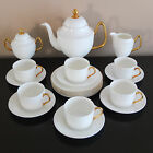 COALPORT 23 PC WHITE GOLD MIDAS HANDLE TEA POT CUP SAUCER PLATE SET BONE CHINA