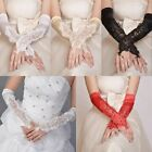 New Wedding Girls Evening Party Fingerless Flowers Pearl Satin Lace Bridal Glove