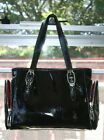 COLE HAAN Black Shiny Leather ALEXA Patent H04 Satchel Tote 2 Side Pockets