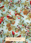 Hoffman Holiday Serenade #J9223 Juniper Brids Holly Christmas Cotton Fabric YARD