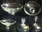Vintage Beaded Foot Scalloped Edge Glass Console Shallow Fruit Bowl Cake Platter