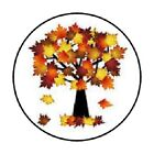 48 FALL TREE LEAVES AUTUMN ENVELOPE SEALS LABELS STICKERS 12 ROUND