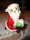 Vintage Santa Figurine Statue Holding Mug Porcelain Japan Collectible