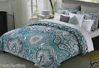 CYNTHIA ROWLEY QUEEN PAISLEY FLORAL TEAL NAVY BLUE GRAY WHITE 6 PC COMFORTER SET