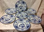 1862-1876 Ant 7ct Mintons Dinner Plates Blu/Whit, Drooping Willow Pattern; Great