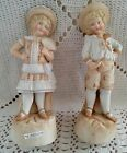 Antique Matched Pair HEUBACH Girl & Boy BISQUE FIGURINES Germany 19th Century
