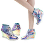Bumper New Blue Round Toe Holographic High Top Hidden Wedge Sneaker Shoes US 5.5