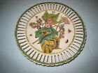 Porcelain Plate Wall Plaque Green Trim with Birds & Butterflies vintage