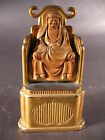 Antique Japanese Seated Wood Buddha Gold Leaf Black Lacquer