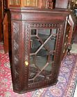Beautiful Carved English Antique Oak Breakfront Hanging Corner Cabinet
