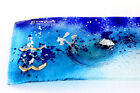 FUSED GLASS ART BLUE AQUAMARINE CANDLE HOLDER POSEIDON COLLECTION KD 37