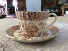 Brown Transferware Cup Saucer Marked Rb No.128563 Asian Theme - See Pictures