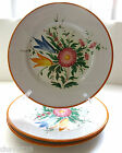 VTG. SET OF 3 HANDMADE ITALIAN POTTERY FLORAL PLATE  8.75 IN. SIGNED