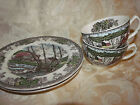 Johnson Brothers The Friendly Village Two Coffee Cups And Two Sandwitche Plates