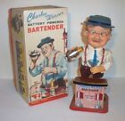 1962 BATTERY OPERATED CHARLEY WEAVER BARTENDER TIN LITHO BAR TOY JAPAN smokes!