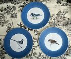 Set of 3 Hand Thrown Marcel Guillot Pottery Bird Plates France