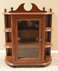 Vintage Wall Hanging Or Table Top Curio Cabinet Wooden Display Case Glass Door