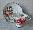 TEA CUP TEACUP SAUCER SET,QUEEN ANNE, POINSETTIA  NOEL, bone china