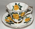 VINTAGE  QUEEN ANNE ENGLISH BONE CHINA YELLOW ROSE TEA CUP & SAUCER SET  ~  MINT