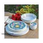 Melamine Dinnerware Set 16 Piece Outdoor Dining Dishes Bowls Picnic Party Dining