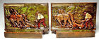 The Ploughman/Nice circa 1925 Bronze Clad Antique Bookends by Pompeian Bronze