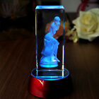 3D Laser Etched Crystal Paperweight Lady Art Figure Display Light Base Decor Hot