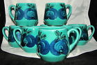 Schramberg Vintage German Coffee or Cider Mugs Abstract Blue Apples Set of 8
