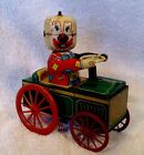Vintage Tin Litho Wind Up Clown In Car By Yone Rare