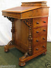 Antique Davenport Ship Captain Writing Desk Leather Burl Wood Inlay c1840-1870