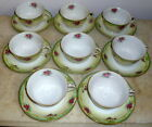Set of 8 Made In Occupied Japan Mocco Cups & Saucers Floral Yellow Green Gold