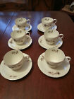 VINTAGE BAVARIA CHINA TIRSCHENREUTH 100 GERMANY  6 TEA CUPS & SAUCERS FLORAL