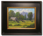 Jeff Love Art~FRAMED Original Oil Painting Barn Farm Black Cows Landscape 9X12