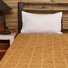 Indian Handmade Yellow Fine Cotton Organza Appliqued Bed Sheet Queen Size Quilt