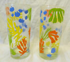 Vintage Culver Signed 2 Highball Tumblers Bright Abstract Flowers Rare Find