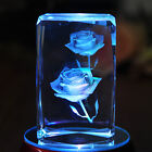3D Laser Etched Crystal Paperweight Rose Flower Figure Display Light Base Decor