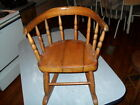 VTG SMALL CHILD DOLL  WOODEN ROCKING CHAIR VERY OLD AND RUSTIC CIRCA  1920s