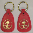 Lot 2 Pair VTG Seagrams Seven 7 Crown Whiskey Red Guitar Pick Keychain