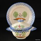 Vintage St.Clement Faience Covered Soup Bowl and Under Plate Hand Painted