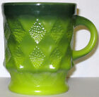 Vintage Fire King Anchor Hocking Kimberly Mug Green Two Tone Diamond Indents