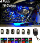 36 LED 6 Pod Custom Motorcycle UnderGlow NEON Wheels Motor Fender Lights Kit