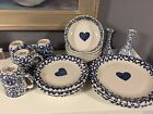 Tienshan Folk Craft HEARTS Blue Sponge LOT 20 Dinner/Salad Plates, Bowls, Mugs