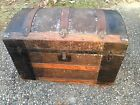 Antique Dome Top Pirate Treasure Chest Steamer Trunk Leather & Wood 1800's
