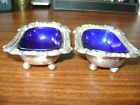 Pair Cobalt Blue Lined Silver Plated Ornate Footed Salt Cellar Dips F48 Antique