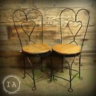 Pair of Vintage Industrial Cafe Soda Fountain Metal Heart Stools